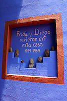 Sign inside the Museo Frida Kahlo, also known as the Casa Azul, or Blue house, Coyoacan, Mexico City
