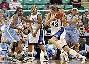Allison Vernerey blows past UNC defense in the first half. This was the Championship game of the 2011 ACC Tournament in Greensboro on March 6, 2011. Duke beat UNC 81-66. (Photo by Al Drago)