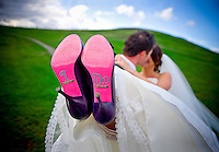 "Silvia sports a special message written in rhinestones on the bottoms of her Betsey Johnson shoes during portraits at Gas Works Park in Seattle: ""I Do""  (Photo by Scott Eklund/Red Box Pictures)."