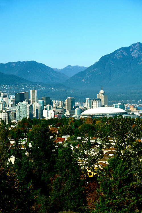 Canada: Vancouver. Skyline.  Photo #: cnvanc102..Photo copyright Lee Foster, 510/549-2202, lee@fostertravel.com, www.fostertravel.com