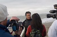 Brock Little does an interview after his heat in the first round of the 2008 Mavericks Surf Contest from in Half Moon Bay, Calif., Saturday, January 12, 2008...Photo by David Calvert/isiphotos.com