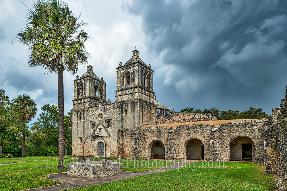 This is Mission Concepción with stormy skies looming over the church in downtown San Antonio. Shortly after we took this the sky open up but loved the look so happy we got this image. The Mission Cencepcion wes built in the 1755 and has been wll preserved for over two hundred years and it one of the few mission that has not been rebuilt. Mass is still given here every Sunday. The Battle of Concepcion was also fought here by James Bowie and James Fannin in 1835.Watermark will not appear on image