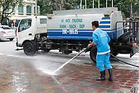Municipal sidewalk cleaning around Hoan Kiem Lake,   hanoi