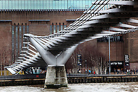 Millenium Bridge, London, UK, 2000, by the architect Sir Norman Foster with sculptor Sir Anthony Caro and engineers Arup, with Tate Modern, Bankside, in the background. The 325m suspension footbridge was the first new Thames crossing in 100 years and links the city to Southwark. It wobbled on opening and had to be modified with dampers. Picture by Manuel Cohen