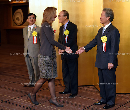 January 5, 2016, Tokyo, Japan - U.S. Ambassador to Japan Caroline Kennedy is greeted by the leaders of Japans three major economic organizations during a New Year party the three mega groups co-hsoted at the Imperial Hotel in Tokyo on Tuesday, January 5, 2016.  (Photo by Natsuki Sakai/AFLO) AYF -mis-