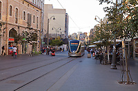 A train in Jerusalem's light rail system on Jaffa Street in downtown Jerusalem.