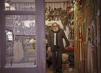 Mimmo Cuticchio in his workshop in Palermo.Mimmo Cuticchio nel suo laboratorio a Palermo