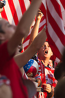 Fans of the United States Men's National Team cheer before the United States played Guatemala at Livestrong Sporting Park in Kansas City, Kansas in a World Cup Qualifier on Tue. Oct. 16, 2012.