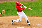 26 September 2010: Washington Nationals infielder Justin Maxwell swings and misses against the Atlanta Braves at Nationals Park in Washington, DC. The Nationals defeated the pennant-seeking Braves 4-2 to take the rubber match of their 3-game series. Mandatory Credit: Ed Wolfstein Photo