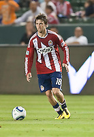 Chivas USA midfielder Blair Gavin (18) ready to pass the ball during the second half of the game between Chivas USA and the Philadelphia Union at the Home Depot Center in Carson, CA, on July 3, 2010. Chivas USA 1, Philadelphia Union 1.