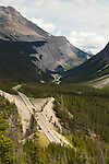 The Icefields Parkway, Highway 93 north, is a scenic road in Alberta, Canada. It parallels the Continental Divide, traversing the rugged landscape of the Canadian Rockies, travelling through Banff National Park and Jasper National Park. It links Lake Louise with Jasper to the north.