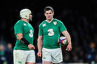 Jonathan Sexton of Ireland speaks to team-mate Rory Best. RBS Six Nations match between England and Ireland on February 27, 2016 at Twickenham Stadium in London, England. Photo by: Patrick Khachfe / Onside Images