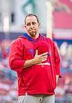 22 May 2015: Philadelphia Phillies pitcher Aaron Harang partakes in a pre-game stand-off against Washington Nationals pitcher Aaron Barrett (not pictured) prior to a game at Nationals Park in Washington, DC. The Nationals defeated the Phillies 2-1 in the first game of their 3-game weekend series. Mandatory Credit: Ed Wolfstein Photo *** RAW (NEF) Image File Available ***