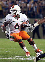 Miami running back Lamar Miller. The Miami Hurricanes defeated the Pittsburgh Panthers 31-3 at Heinz Field, Pittsburgh, Pennsylvania on September 23, 2010.