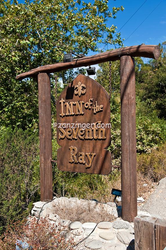 Inn of the Seventh Ray, Restaurant, Sign, Topanga Canyon, CA,