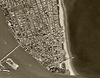 historical aerial photograph Miami Beach, Florida 1961