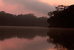 Sunset, Madre de Dios River, edge of Jungle Forest, Primary Rainforest, Manu, Peru, Amazonian, orange colours. .South America....