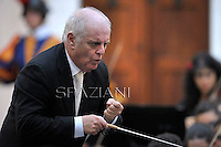 DANIEL BARENBOIM,Concert in honor of Pope BENEDICT XVI, of his summer residence in Castelgandolfo on the outskirts of Rome , with the Italian President GIORGIO NAPOLITANO    . The West-Eastern Divan Orchestra direct by DANIEL BARENBOIM.July 11, 2012
