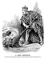 A Good Riddance. [The king has done a popular act in abolishing the German titles held by members of His Majesty's family.] (King George V sweeps away several crowns Made In Germany with a broom during WW1)