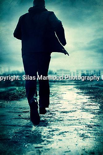 man, running, away, run, fast, sprinting, path, wet, cold ...