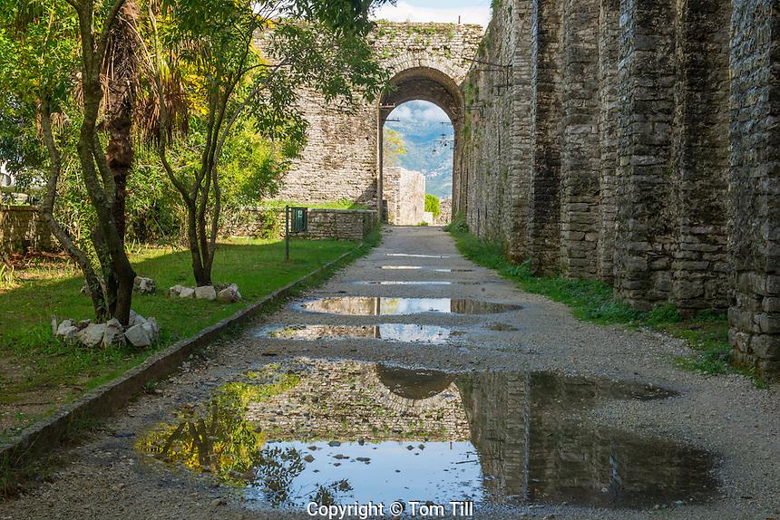 Reflection at Gjirokastra Castle, Albania Finest example of Ottoman-style city in Albania