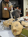 February 9, 2012, Tokyo, Japan - Face masks of of ancient warriors made of Japan paper are shown in the Tokyo International Gift show at the Big Sight in Tokyo on Thursday, February 9, 2012. A total of 2,500 companies, including 220 from 22 foreign countries and regions, showcased three million amazing new products during the three-day exhibition. (Photo by Natsuki Sakai/AFLO) AYF -mis-