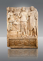 Photo of Roman releif sculpture of Tree Graces from the South Building, Second storey, Aphrodisias, Turkey, Images of Roman art bas releifs. Buy as stock or photo art prints. Apollo sits on his raised platform with his tripod at his oracular shrine. He is approached by 2 figures one with the flat diadem of a king who have come to consult him. Cut Out