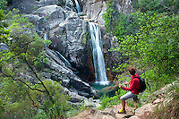 Peneda Geres National Park, Portugal, June 2011. Cascata do Arado waterfall near Geres.l In the extreme North of Portugal, between the Atlantic Coast and the Spanish border are the mountains and valleys of Peneda Geres National Park. Walk along narrow shepherd trails or on the ancient cement of Roman roads. From lush river valleys to bare rocky mountain peaks.  Photo by Frits Meyst/Adventure4ever.com