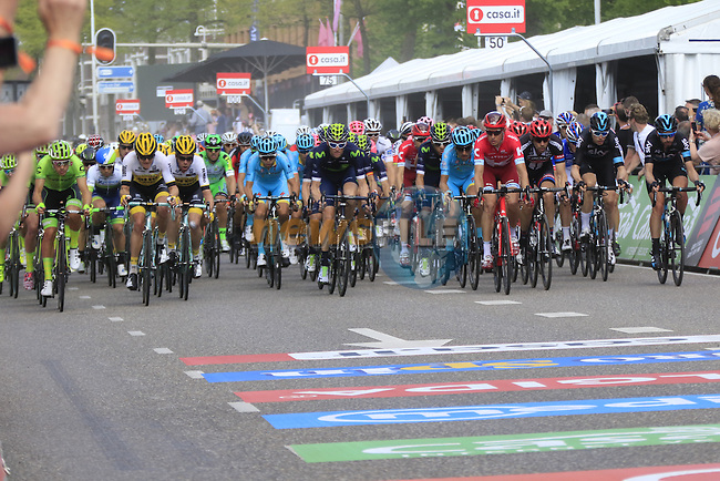The peloton on the finishing circuit in Nijmegen during Stage 2 of the 2016 Giro d'Italia running 190km from Arnhem to Nijmegen, The Nethrerlands. 7th May 2016.<br /> Picture: Eoin Clarke | Newsfile<br /> <br /> <br /> All photos usage must carry mandatory copyright credit (&copy; Newsfile | Eoin Clarke)