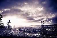 Split tone edit of trail running atop Hogback Mountain near Marquette, Michigan on Michigan's Upper Peninsula.