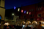 Colorful Venice sign in Venice Beach at night