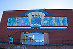 Mural above the PolarStar shop and museum at Barentsburg, a Russian coal mining town in the Norwegian Archipelego of Svalbard. Once home to about 2000 miners and their families, less than 500 people now live here.