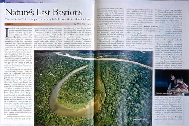 Magazine article about Manu National Park in southeastern Peru