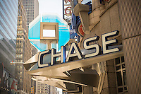A branch of Chase bank in New York on Monday, April 11, 2016. The big four banks, JPMorgan Chase, Bank of America, Wells Fargo and Citigroup report first-quarter earnings this week which are expected to be the worst since the start of the Great Recession. (© Richard B. Levine)
