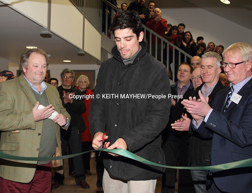 England cricket captain Alastair Cook opens Henlow Park Pavilion, Henlow, Bedfordshire on December 30th, 2014<br /> <br /> Cook - recently removed as England's one day skipper, but remains as Test Captain - used to attend Bedford Modern School and represented Bedfordshire Minor Counties cricket team as a wicketkeeper batsmen before making his first class county debut for Essex at 19.<br /> <br /> Photo by Keith Mayhew