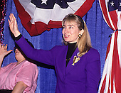 Hillary Rodham Clinton, wife of Governor Bill Clinton (Democrat of Arkansas), attends a rally for her husband at Hesser Business College in Manchester, New Hampshire on February 17, 1992.  The Clintons were campaigning in advance of New Hampshire's &quot;First in the Nation&quot; presidential primary.<br /> Credit: Ron Sachs / CNP