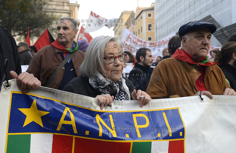 Roma, 24 Novembre 2012.Presidio e corteo antifascista contro la manifestazione di Casapound.Bianca Bracci Torsi, Partigiana.I Partigiani