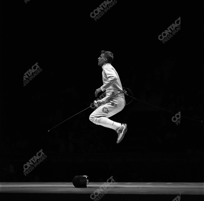 Men's Individual Epee, Marcel Fischer (Switzerland) gold, Summer Olympics, Athens Greece, August, 17, 2004.