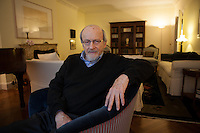 "New York, NY – January 14, 2014 : Celebrated author E. L. Doctorow discusses his new book, ""Andrew's Brain,"" at his apartment in New York, NY on January 10, 2014. E. L. Doctorow's works of fiction  include Homer & Langley, The March, Billy Bathgate, Ragtime, the Book of Daniel, City of God, Welcome to Hard Times, Loon Lake, World's Fair, The Waterworks, and All the Time in the World. Among his honors are the National Book Award, three National Book Critics Circle Awards, two PEN Faulkner Awards, The Edith Wharton Citation for Fiction, and the presidentially conferred National Humanities Medal."