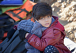 A refugee girl hugs her younger sibling after landing on a beach near Molyvos, on the Greek island of Lesbos, on November 2, 2015. Part of a boatful of refugees that arrived from Turkey, they were received by local and international volunteers, then proceeded on their way toward western Europe. The boat was provided by Turkish traffickers to whom the refugees paid huge sums to arrive in Greece.