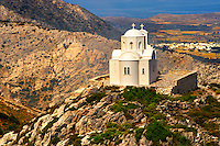 Hilltop Church od Ag Marina, Naxos Island Greek Cyclades Island