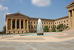 Exterior and fountain, Philadelphia Museum of Art..Philadelphia, Pennsylvania, PA USA.  Photo copyright Lee Foster, 510-549-2202, lee@fostertravel.com, www.fostertravel.com. Photo 203-30918