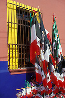 Mexican flags and other patriotic items for sale on Mexican Independence Day (September 16), Cuernavaca, Morelos, Mexico
