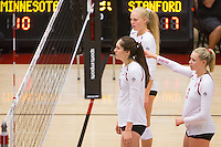 STANFORD, CA - August 28, 2016: Audriana Fitzmorris, Kathryn Plummer, Hayley Hodson at Maples Pavilion. The Stanford Cardinal defeated the University of Minnesota 3-1.