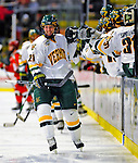 3 January 2009: University of Vermont Catamount forward Jack Downing, a Sophomore from New Canaan, CT, celebrates a first period goal against the St. Lawrence Saints during the championship game of the Catamount Cup Ice Hockey Tournament at Gutterson Fieldhouse in Burlington, Vermont. The Cats defeated the Saints 4-0 and won the tournament for the second time since its inception in 2005...Mandatory Photo Credit: Ed Wolfstein Photo