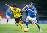 St Johnstone v Alashkert FC...09.07.15   UEFA Europa League Qualifier 2nd Leg<br /> Chris Kane holds off Vahagn Minasyan<br /> Picture by Graeme Hart.<br /> Copyright Perthshire Picture Agency<br /> Tel: 01738 623350  Mobile: 07990 594431
