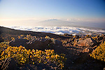 The view of the West Maui Mountains and the central valley of Maui from the road leading to the summit of Haleakala, a national park.