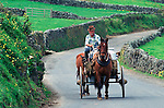 A horse pulls a cart loaded with milk to a dairy cooperative on Terceira, Azores. Far out in the Atlantic Ocean, some 850 miles off the western coast of Lisbon, Portugal lies the 425-mile long archipelago of the Azores. (Jim Bryant Photo).....