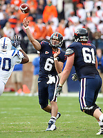 Virginia quarterback Marc Verica (6) throws the ball during an ACC football game against Duke Saturday in Charlottesville, VA. Duke won 28-17. Photo/Andrew Shurtleff
