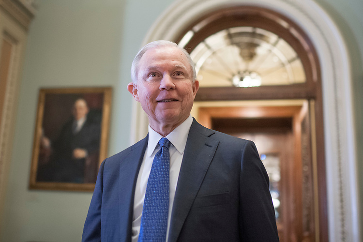 UNITED STATES - JANUARY 31: Sen. Jeff Sessions, R-Ala., nominee for attorney general, makes his way to the Senate Policy luncheons in the Capitol, January 31, 2017. (Photo By Tom Williams/CQ Roll Call)